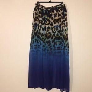 Worthington Cheetah Print Maxi Skirt Lined to Knee